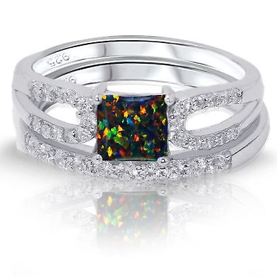 Princess Black Fire Opal Engagement Wedding Sterling Silver Two Ring Set