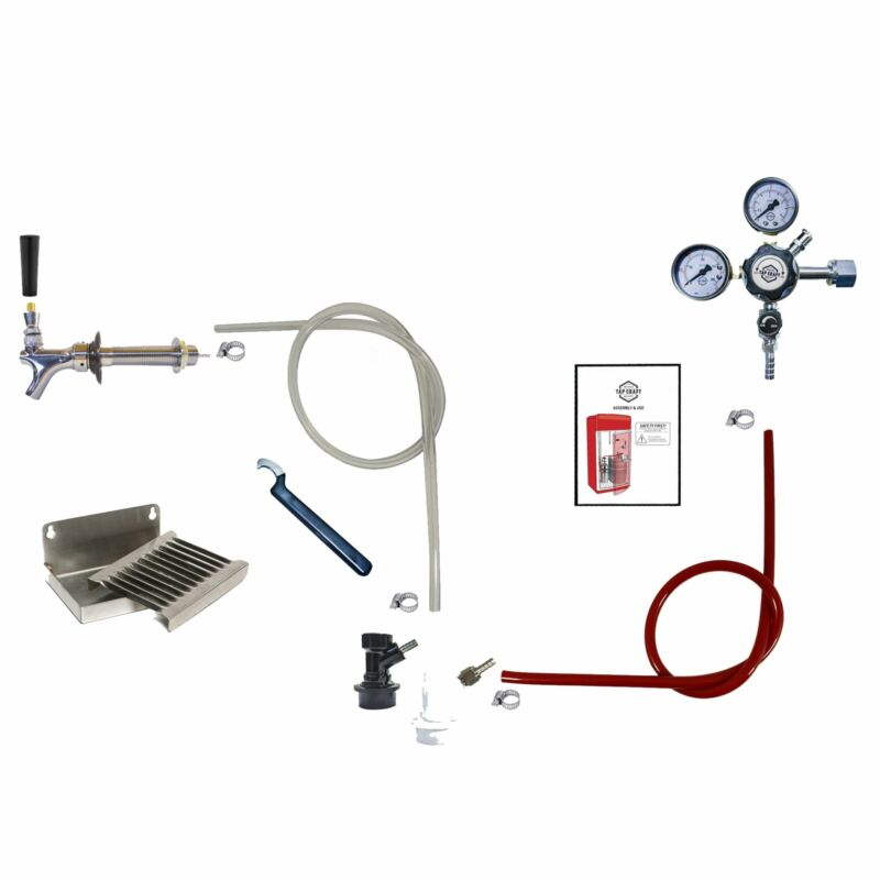 1 Faucet Homebrew Draft Beer Kegerator Kit w/ Drip Tray & BALL LOCK Fittings