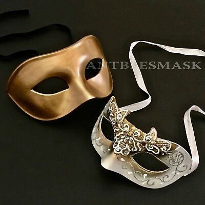 Venetian Lace Decorated & Gold Masquerade Prom Costume Halloween Mask