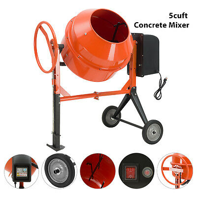 Portable 5cuft 45hp Electric Concrete Cement Mixer Barrow Machine Mixing Mortar