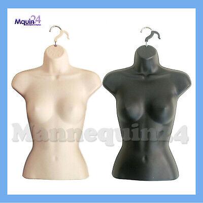 2 Female Torso Mannequins Black Flesh Women Dress Forms Set Hanging Hooks