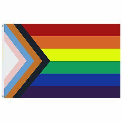 Progress Pride Rainbow Flag 3×5 ft LGBTQ Gay Lesbian Trans People of Color Décor
