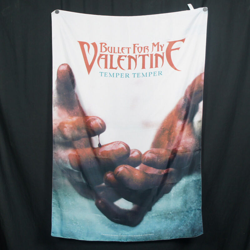 Authentic BULLET FOR MY VALENTINE Temper Temper Silk-Like Fabric Poster Flag NEW