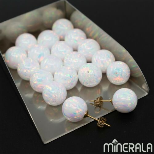 [WHOLESALE] HALF DRILLED WHITE SYNTHETIC LAB CREATED OPAL ROUND BALL WP0020E