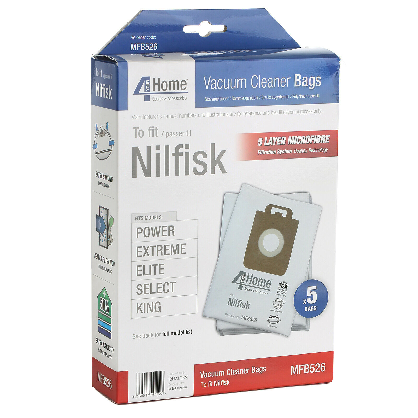 Nilfisk GM200 GM300 GM400 P40 Microfibre Aspirateur Hoover Poussière Sacs x5 a689