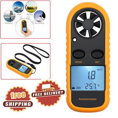 Digital Lcd Handheld Anemometer Air Wind Speed Meter Tester Temperature Gauge Us