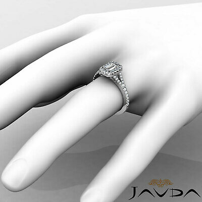 Halo Split Shank U Pave Set Emerald Shape Diamond Engagement Ring GIA H VS2 1Ct 4