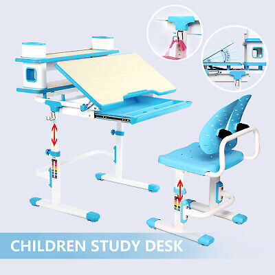 Kids Chair (Adjustable Kids Study Table Set Children's Desk and Chair Set Desk Lamp 3 Colors )