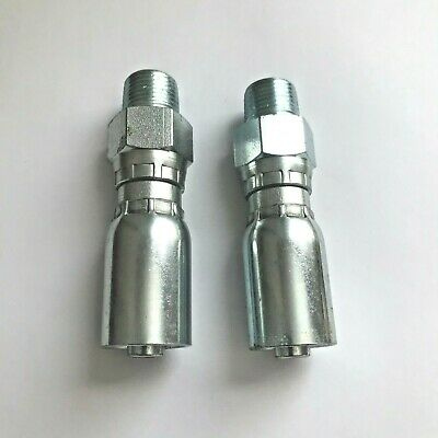 2 Pcs 38 Mpt Swivel Hydraulic Hose Crimp Fittings For 38 Hose