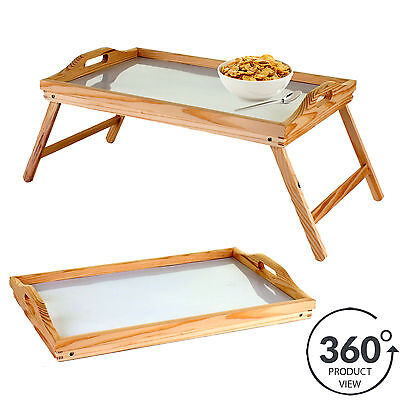 Wooden Lap Tray Breakfast in Bed Serving with Folding Legs Table Mate Wipe Clean