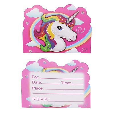 Cute Unicorn Girls Pink Birthday Party Invitations 10 pieces Free Track Rainbow - Cute Invitations
