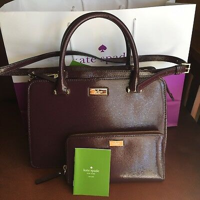 Kate Spade Lise Bixby place Patent Leather Satchel & Wallet SET Mahogany NWT