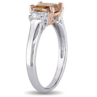 Amour Brown & White Diamond 3-Stone Engagement Ring in 2-Tone 14k Gold 5