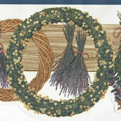 """Country Floral Wreath Basket Wallpaper Border LOT 45 feet """"FREE SHIPPING"""" 634"""