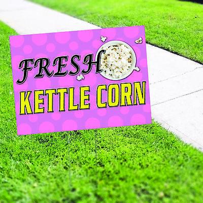 Fresh Kettle Corn Caramel Popcorn Plastic Indoor Outdoor Coroplast Yard Sign