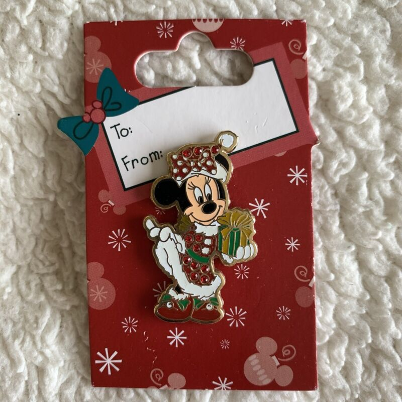 NEW Disney Minnie Mouse Bejeweled Christmas Holiday Pin Santa Costume To From