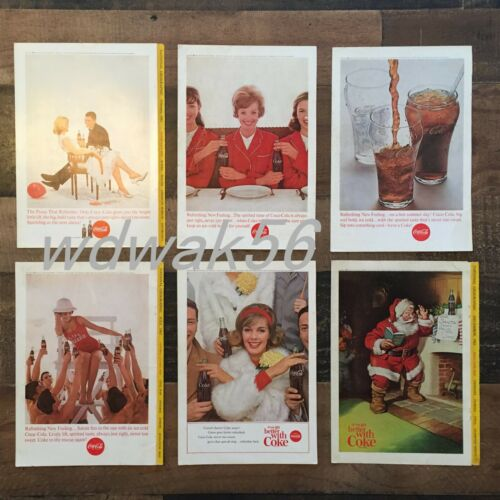 1963 COMPLETE Set of 6 NATIONAL GEOGRAPHIC MAGAZINE COCA-COLA COKE ADS