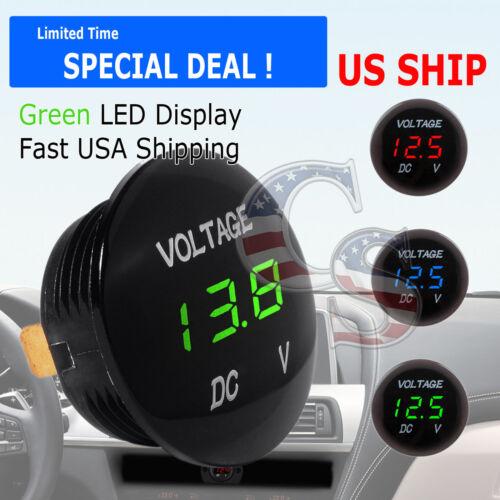 Green LED Digital Waterproof Voltmeter A Gauge Meter 12V-24V Car Auto Motorcycle