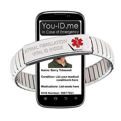 Atrial Fibrillation Alert Bracelet Expanding SOS ICE Emergency Medic ID Band  Emergency Id Band
