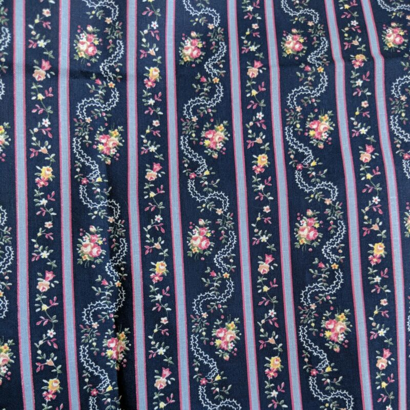 """36"""" x 44"""" Dark Blue Pink Floral Material Fabric Crafts Sewing Doll Bear Clothes"""