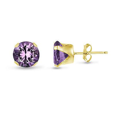 Gold Genuine Amethyst Earring - Genuine Purple Amethyst Gold Plated Silver Stud Earrings Round - February