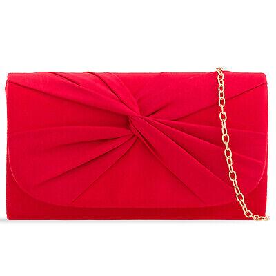 Plissee Damen Tasche (Rot Plissee Wildleder Hochzeit Damen Party Clutch Handtasche)