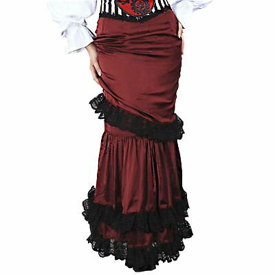 Womens Red Steampunk Gothic Lolita Victorian Pirate Saloon Costume Ruffle Skirt ](Saloon Costumes For Womens)