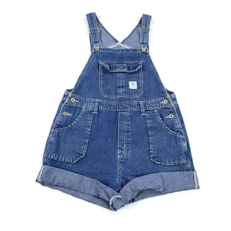 Vintage 90's Route 66 Denim Jean Short Overalls Youth Size 14/16