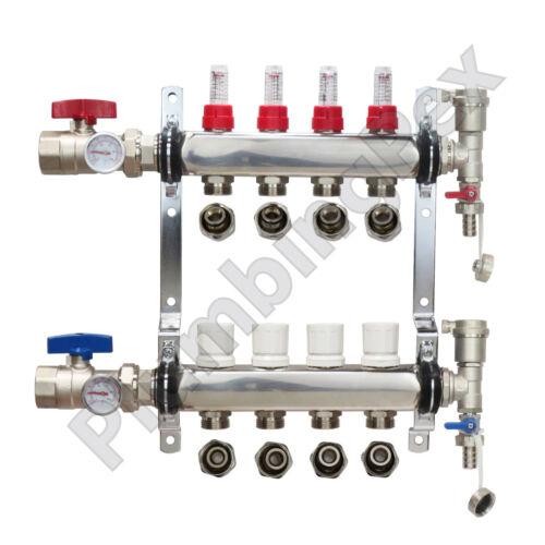 "4-Branch PEX Radiant Floor Heating Manifold Stainless Steel w/ 1/2"" Connectors"