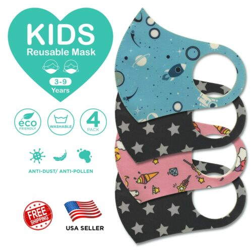 "4 Pcs Kids Face Mask Cover Washable Reusable Protection Breathable  ""US SELLER"""