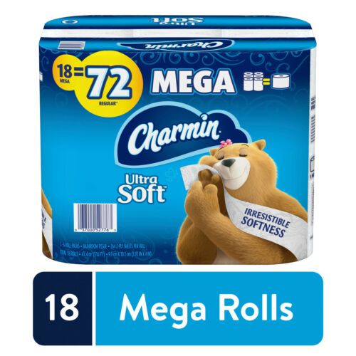 Charmin Ultra Soft Toilet Paper, 18 Mega Rolls = 72 Regular Rolls, Septic-Safe