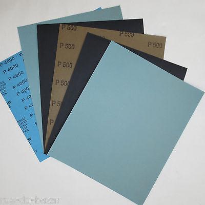 lot feuille de papier abrasif pour poncer à l'eau 230x280 grain au choix ponçage