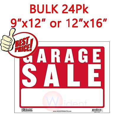 24pk Garage Sale Red White Flexible Plastic Sign 9x12 Or 12x16 Inch
