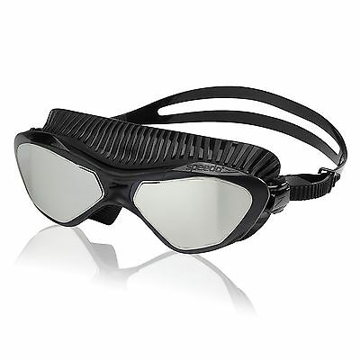 Speedo Caliber Mirrored Lens Swim Swimming Anti-Fog Mask Goggles, Black One Size