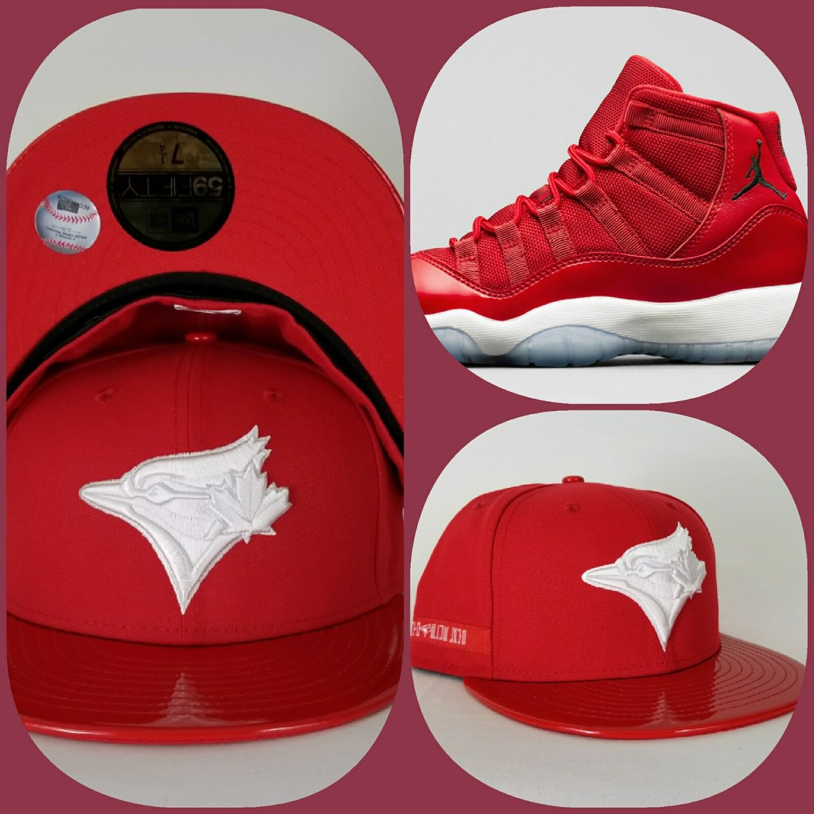 07b609c0f Details about New Era Toronto Blue Jays 59Fifty Fitted hat Jordan 11 Gym Red