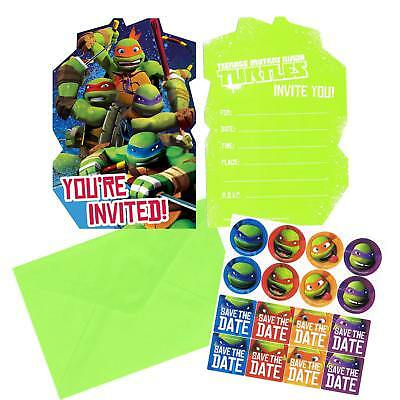 TMNT Ninja Turtles Party Supplies Invitations w/envelopes, seals, save the date - Ninja Turtle Party Invitations