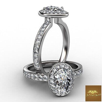 Halo Sidestone Pave Set Oval Diamond Engagement Cathedral Ring GIA F VS2 0.95 Ct