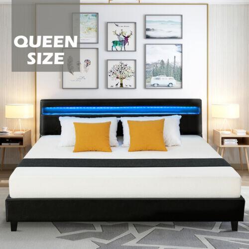 Queen Size Leather Upholstered Platform Metal Bed Frame W/ L