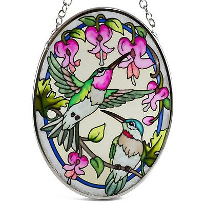 "Traditional Hummingbirds Suncatcher Hand Painted Glass AMIA Studios 4.5"" x 3.25"""
