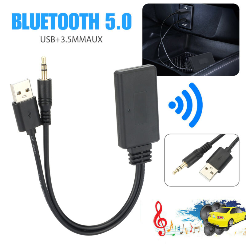 Bluetooth 5.0 Receiver Adapter USB + 3.5mm Jack Stereo Audio For Car AUX Speaker