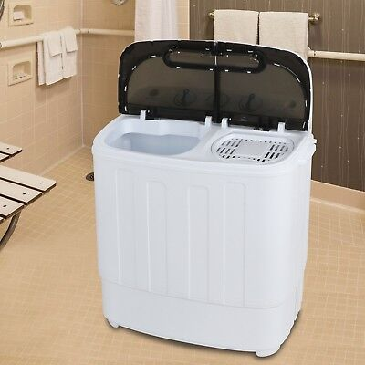 Manageable Mini Washing Machine Compact Twin Tub 13lb Washer Spin & Dryer, White