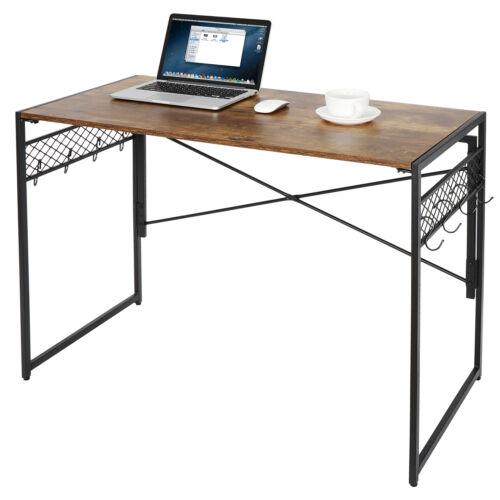 """Folding Computer Desk 39""""  Writing Desk with 8 Hooks Study Desktop Workstation Furniture"""