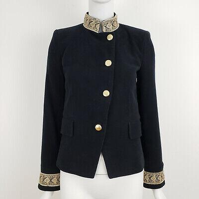 Zara Blazer Jacket Small S Black Velvet Gold Trim Passementerie Mandarin Collar