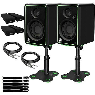 Mackie CR3-XBT 3 Active Powered Bluetooth Studio Monitor Speakers Pair w Stands