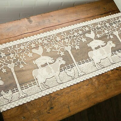"""New Primitive Country Heritage Lace FARMHOUSE COW PIG ROOSTER Table Runner 45"""""""