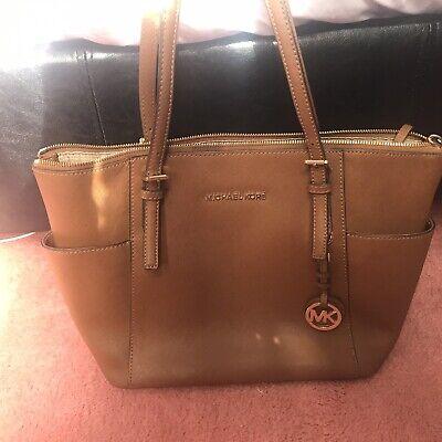 Genuine Michael Kors Large Black Jet Set Tan Leather Tote Bag Handbag