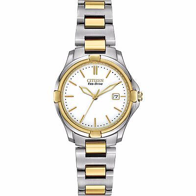 (Citizen Eco-Drive Women's Silhouette Two Tone 28mm Bracelet Watch EW1964-58A)