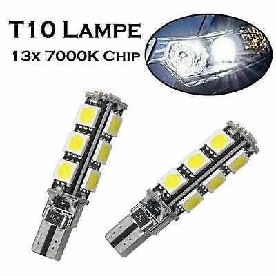 2x T10 13xChip 12V Intensiv Kalt Weiß 7000K Bremslicht Hecklicht Parklicht Lampe