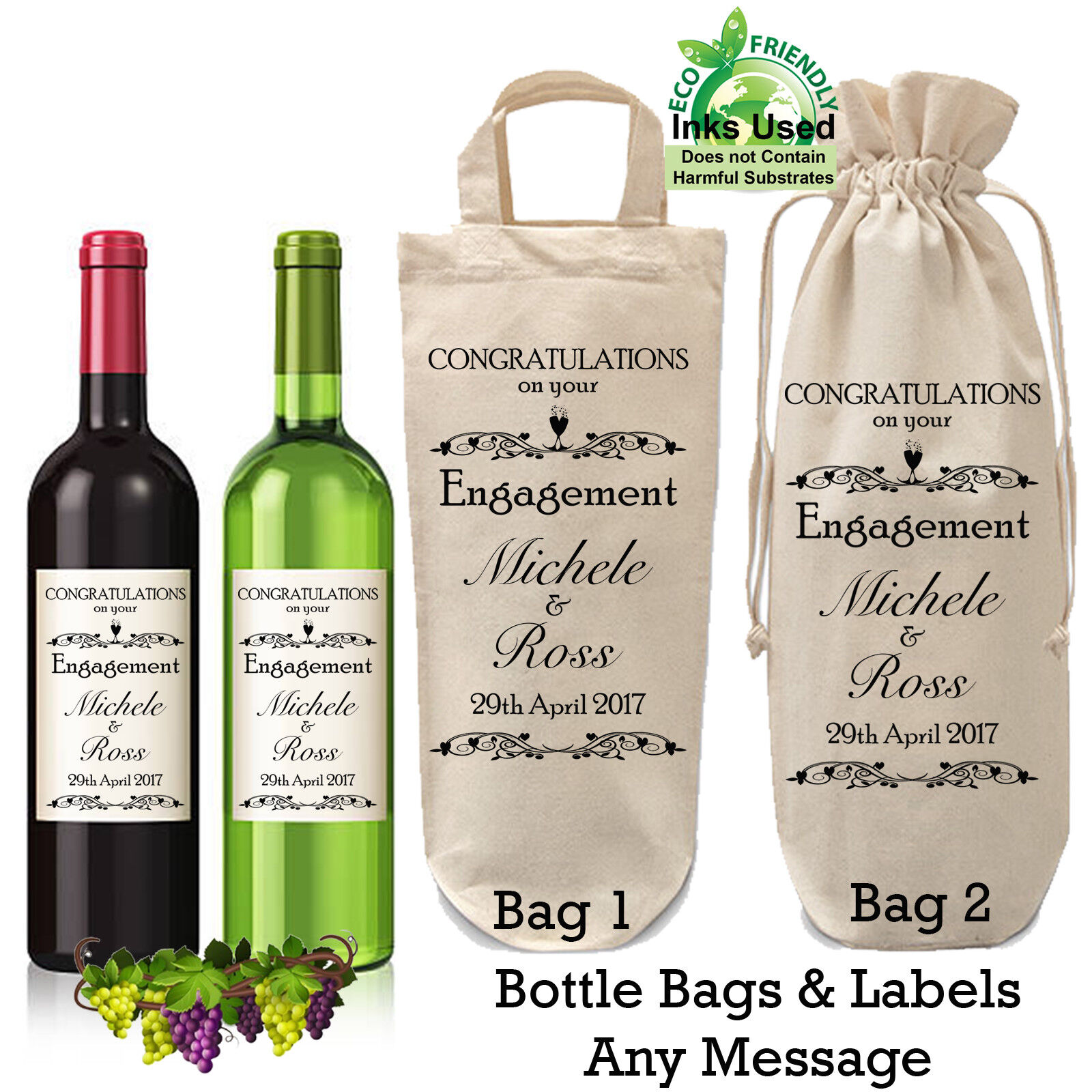 Details About Personalised Engagement Bottle Bag And Label Wine Gift Wring Wedding