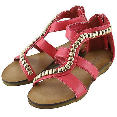 - New girl's kids back zipper sandals fuchsia strap comfort casual open toe summer